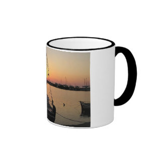 Fishing boat at dusk ringer mug