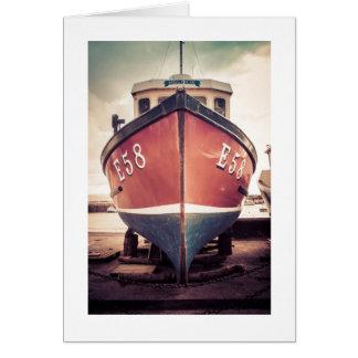 Fishing boat at Lyme Regis, UK Card