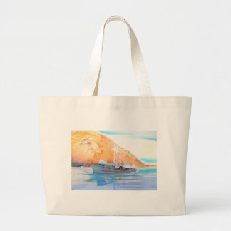 Fishing Boat at Rest in Morro Bay Large Tote Bag