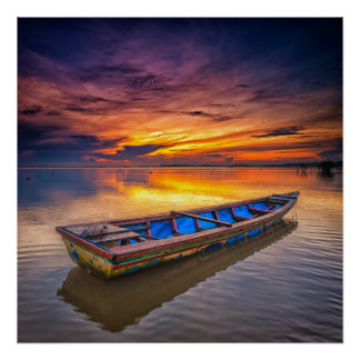 Fishing Boat At Sunrise | Jubakar Beach Poster