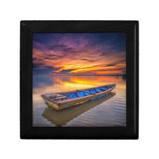 Fishing Boat At Sunrise | Jubakar Beach Small Square Gift Box