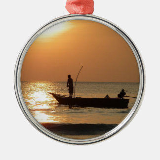 Fishing Boat at Sunset Christmas Ornament