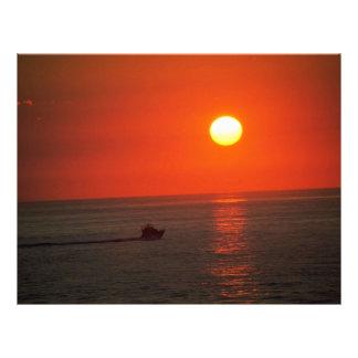 Fishing boat before sunrise flyers