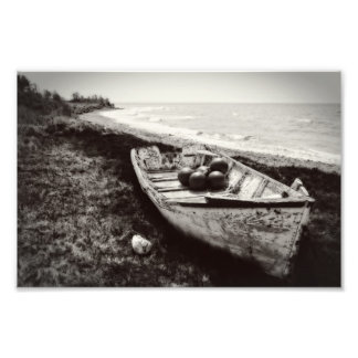 Fishing Boat black and white Photographic Print