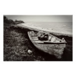 Fishing Boat black and white Poster