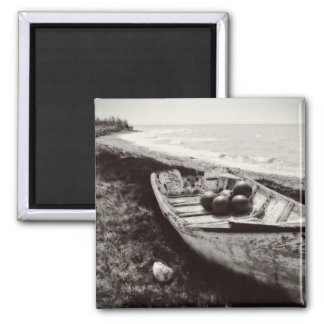 Fishing Boat black and white Square Magnet