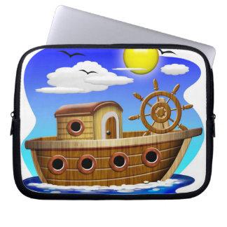 Fishing Boat Cartoon Laptop Sleeves