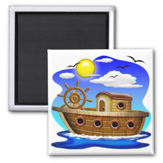 Fishing Boat Cartoon Square Magnet
