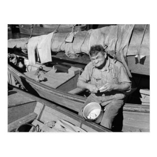Fishing boat cook - Christmas 1938 Postcard
