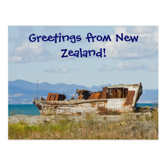 Fishing boat, Greetings from New Zealand! Postcard