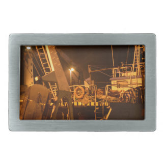 Fishing Boat In Harbor At Night Belt Buckle