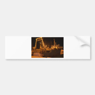 Fishing Boat In Harbor At Night Bumper Sticker