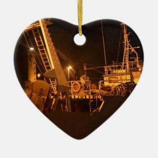 Fishing Boat In Harbor At Night Ceramic Heart Decoration