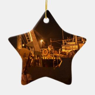 Fishing Boat In Harbor At Night Ceramic Star Decoration