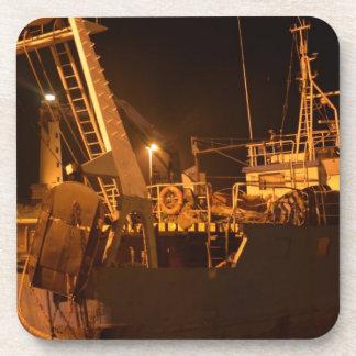 Fishing Boat In Harbor At Night Coaster