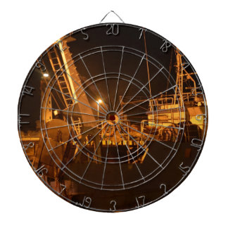 Fishing Boat In Harbor At Night Dartboard