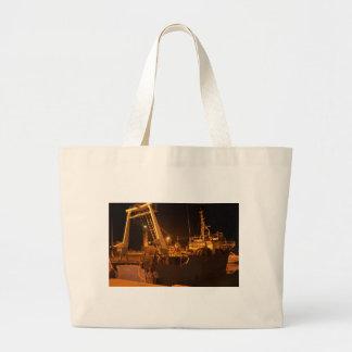 Fishing Boat In Harbor At Night Large Tote Bag