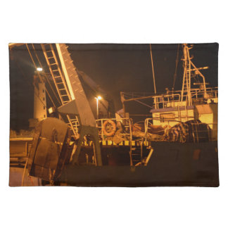 Fishing Boat In Harbor At Night Placemat