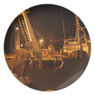 Fishing Boat In Harbor At Night Plate