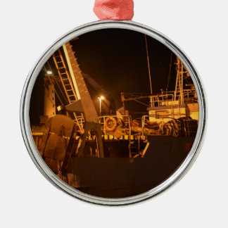 Fishing Boat In Harbor At Night Silver-Colored Round Decoration
