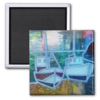 Fishing Boat in Stained Glass at Cadgwith Cornwall Square Magnet