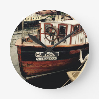 Fishing Boat in Sweden Round Clock