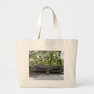 Fishing Boat In The Woods Tote Bags