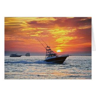 Fishing Boat, Key West, Florida, Sunset Card