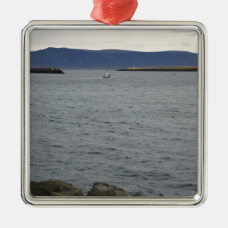 Fishing boat leaving harbour, Reykjavik, Iceland Silver-Colored Square Decoration