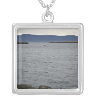 Fishing boat leaving harbour, Reykjavik, Iceland Silver Plated Necklace