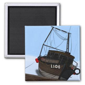 Fishing Boat Square Magnet