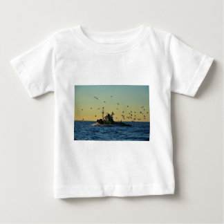Fishing Boat Mobbed By Gulls Baby T-Shirt