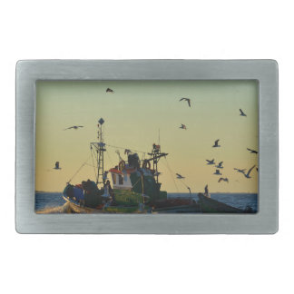 Fishing Boat Mobbed By Gulls Belt Buckles