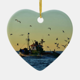 Fishing Boat Mobbed By Gulls Ceramic Heart Decoration