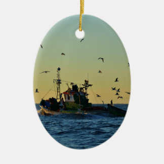 Fishing Boat Mobbed By Gulls Ceramic Oval Decoration