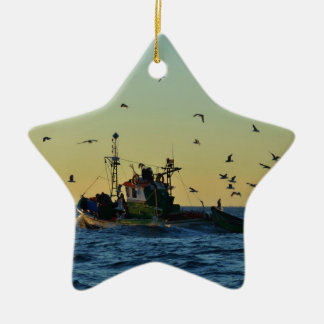 Fishing Boat Mobbed By Gulls Christmas Ornament