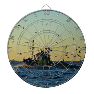 Fishing Boat Mobbed By Gulls Dartboard
