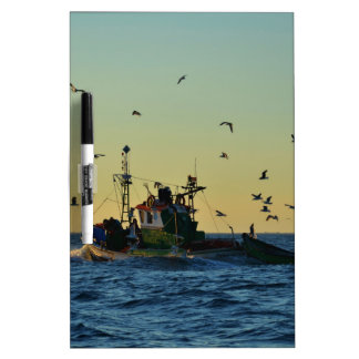 Fishing Boat Mobbed By Gulls Dry Erase Whiteboards