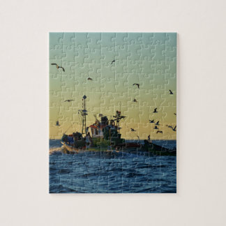 Fishing Boat Mobbed By Gulls Jigsaw Puzzle