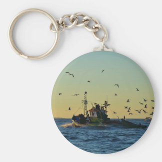 Fishing Boat Mobbed By Gulls Keychain
