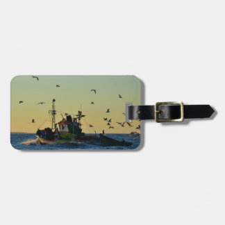 Fishing Boat Mobbed By Gulls Luggage Tag