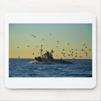 Fishing Boat Mobbed By Gulls Mouse Mats