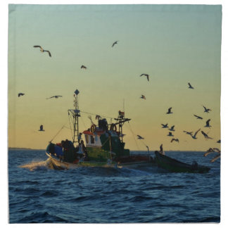 Fishing Boat Mobbed By Gulls Printed Napkins