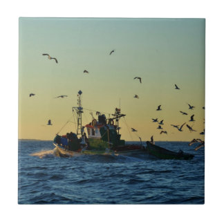 Fishing Boat Mobbed By Gulls Tile