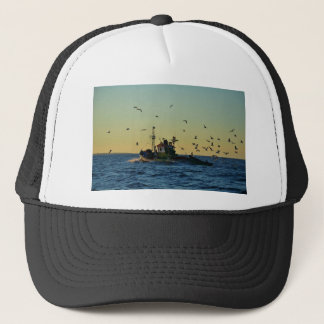 Fishing Boat Mobbed By Gulls Trucker Hat