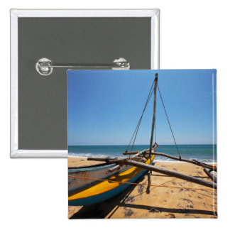 Fishing Boat Moored On Beach 15 Cm Square Badge