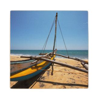 Fishing Boat Moored On Beach Wood Coaster