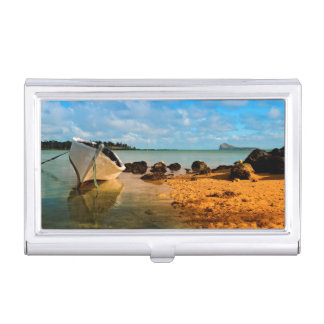 Fishing Boat On Mauritian Beach With Islet Business Card Holder