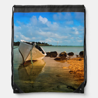 Fishing Boat On Mauritian Beach With Islet Drawstring Bag