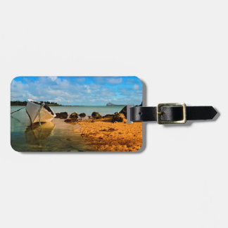 Fishing Boat On Mauritian Beach With Islet Luggage Tag